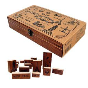 15pcs set Vintage World Scenery Wooden Rubber Stamp Box NEW YORK PARIS Craved Printing Stamps Craft Scrapbooking DIY 2016