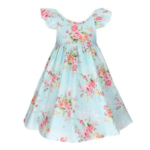 Wholesale 2018 INS baby girl Kids Summer clothes Pink blue Rose Floral Dress Jumpsuits Halter Neck Ruffle Lace Shoulder Sexy Back