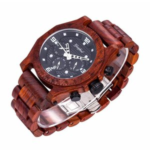 Wholesale Best selling meters waterproof wooden watch multi function six pin rosewood acacia wood quartz small three needle