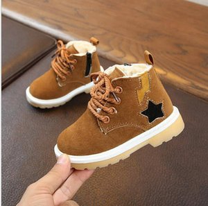 Wholesale Kids Shoes Winter Warm Martin Boots Toddler Thicken Leather Boots Boys Girls Waterproof Antiskid Shoes Fashion Casual Flats Shoes YL679