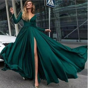 Wholesale Newest Green Sexy V neck A line Prom Dresses Long Sleeves Jersey Evening Gowns Elegant Party Gowns Side Slit Plus Size Custom Made Dresses