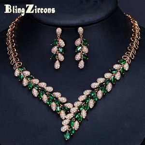 Wholesale BlingZircons Designer Luxury Dubai Gold Color Green Cubic Zircon Paved CZ Crystal Wedding Necklace Earrings Jewelry Sets JS128