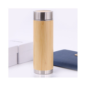 Wholesale 450mL Stainless Steel Bamboo Wood Water Bottles Wooden Double Filter Bamboo Cups Vacuum Cup Straight Bottles