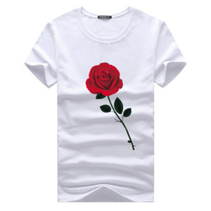 Wholesale Rose Printed T shirts Summer Top Shirt Crew Neck Short Sleeves XL Men New Fashion Clothing Cotton Tops Male Casual Tees