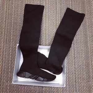 Wholesale Hot Selling Original Box Mixed Colors Thigh High Woman Boots Speed Trainer Race Shoes Slip On Casual Boots Woman Flat Size