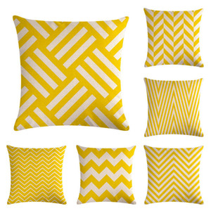 Wholesale Yellow Geometry Stripe Series Pillow Case Classic Flax Cushion Cover Sofa Bedroom Decorations Pillowslip Hot Sale 5 5zm Ww