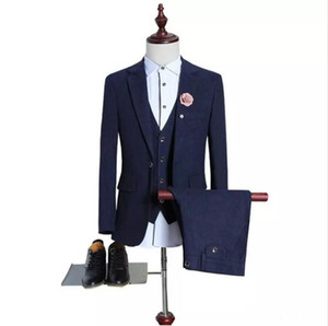 Customized new best selling men's suit three-piece suit (coat + pants + vest) men's business formal suit solid color gentleman dress wedding