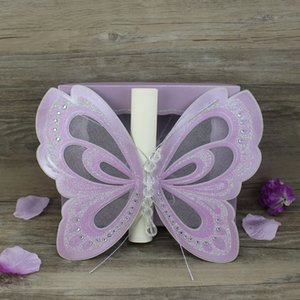 Wholesale white purple wedding invitation card resale online - 50 Piece Birthday Party Invitation Card With Box Laser Cutting Wedding Invitations Elegant White Pink Purple Ivory Personalized Printing
