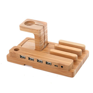 Wholesale Multi function Bamboo Phone Desk Stand Holder for iPhone iPad mini for Apple Watch Charging Dock USB Ports with Charging Cable