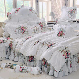 Wholesale quilt bedspread bedding sets resale online - 4pcs Korean Style Beige Princess Bedding Set Luxury Rose Printing Lace Quilt Cover Ruffles Bedspread Bed Sheet Cotton Queen King Size