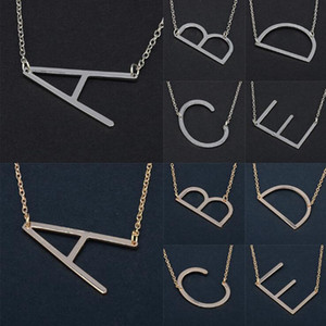 26 Alphabet English Letter Pendant Lady Metal Necklace A-Z Choker Chain Necklaces Sliver Gold Jewelry Gift OOA4421