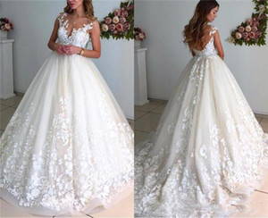2019 Sheer Lace Maternity Wedding Dresses A Line Beaded Applique Pregnant Backless Court Train Plus Size Bridal Gowns