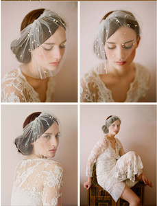 Wholesale Manual Hot White Tulle Birdcage Veils for Brides Pearl Short Bridal Wedding Veil with Comb Cheap In Stock