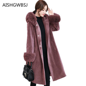 Wholesale 2018 Winter New Women s Woolen Coat Sheep Shearing Fur Outer One piece Fox Fur Collar Hooded Style Warm Long Jacket TQ253