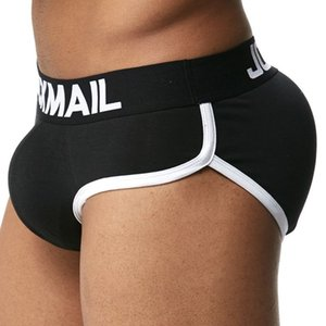 Wholesale Solid Jockmail Brand Enhancing Mens Underwear Briefs Sexy Bulge Gay Pad Front Back Magic Buttocks Double Removable Push Up Cup
