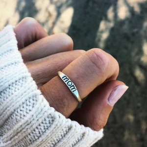 Hot Fashion MOM Ring Women Girl Antique Silver & Gold Plated Color Band Rings Wedding Party Fine Jewelry Good Gift
