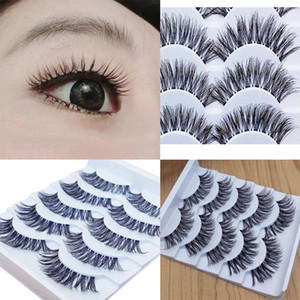 Wholesale 5pairs Natural False Curling Thick Eyelashes Fake Short Eyelash Mink Lashes Strips Halloween Brand Makeup Tools Korean Cosmetics