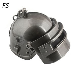 Wholesale PUBG Black Gun Plated Special Corps Level Helmet Keychain Playerunknown s Battlegrounds Can Opene Closed Helmet Keyring