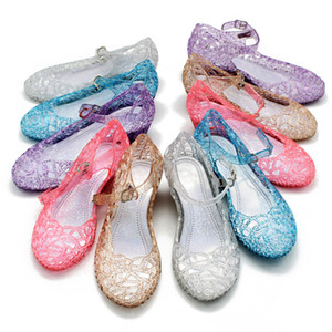 Wholesale New kids Shoes Girl Princess Shoes Blue Crystal Sandals Girls Cosplay Shoes Blue PVC Hole Snowflake Sandal kids A
