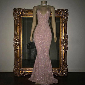 Stunning Rose Pink Sequined 2K19 Prom Dresses Sexy Spaghetti Straps Mermaid Sleeveless Evening Gowns Cheap BA5415