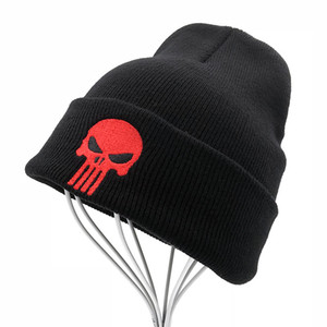 Wholesale The Punisher Cool Black Skulls Winter Warm Beanie Men women Skeleton Justiceiro Castigador Knitted Hat Adult Teenagers Boy