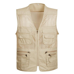 Wholesale Men s Photographer Vest Multi Pockets Cheap Vests Out door Shooting Hunt Waistcoat Vest Walking Travel plus size S XL