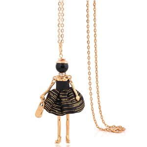 Wholesale big pendant necklace handmade charm female maxi gold color black doll necklace cm chain choker long necklace