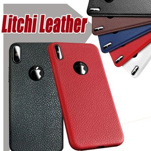 Wholesale Litchi Leather Soft TPU Silicone Case Shockproof Anit fingerprint Cover For iPhone XS Max XR X Plus Samsung Galaxy S10 E S9 S8 Note