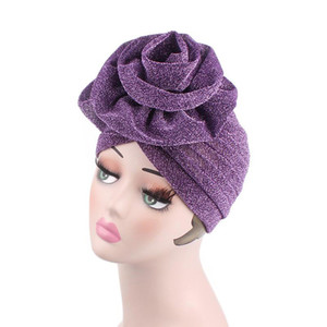 Wholesale New Big Flower Headband Women Bright Muslim Turban India Cap red purple colors Wedding Party Hair Lose Head Wraps Accessories