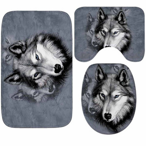 Wolf Series Pattern Bathroom Carpets 3pieces Non-slip Floor Mats Microfiber Bath Mats Washable Toilet Rugs Lid Cover Home Decor