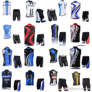 GIANT team Cycling Sleeveless jersey Vest shorts sets Pro team with gel pad summer quick dry Ropa ciclismo D1118