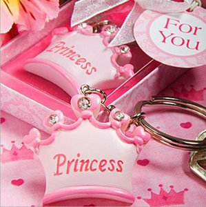 принцесса брелки для ключей  оптовых-20pcs baby girl Princess Imperial crown key chain key ring keychain ribbon gift box baby shower favor souvenir wedding gift