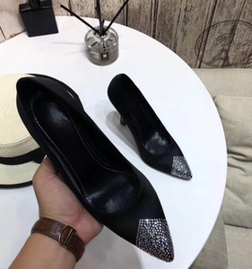 Wholesale women high heels dress shoes party fashion rivets girls sexy pointed toe shoes buckle platform pumps wedding shoes black white pink color
