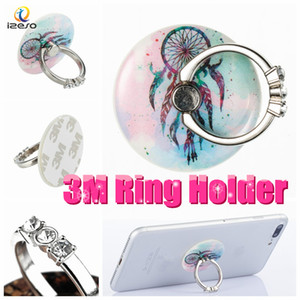Wholesale Acrylic Finger Ring Holder Universal Degree Rotation Real M Glue Flexible Cellphone Stands with Bling Diamond Rhinestone for All Mobile