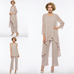 Wholesale Plus Size Mother Of The Bride Pant Suit Piece Chiffon for Beach Wedding Dress Mother s Dress Long Sleeves Cheap Mothers Formal Gown