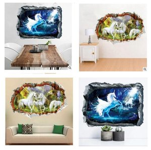 Wholesale Wall Sticker Unicorn D CartoonArt Poster House Decorative Living Room Sofa Kids Nursery Background Wall Stickers cm