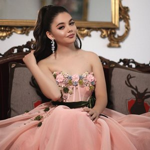 2018 Pageant Dresses Ball Gown See Through Coral Pink Colorful 3D Flowers Decorated Sweetheart Floor Length Prom Gowns on Sale