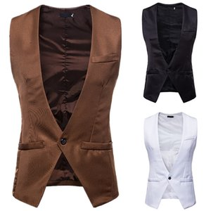 2018 British Style Groom Vest Men Wool Tweed Groom Vests Formal Groom's Wear Suit Vest Men's Wedding Tuxedo V-neck New Waistcoat Plus Size on Sale