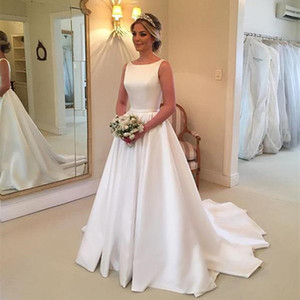 Wholesale Graceful White Satin Chapel Wedding Dresses Jewel Neck Backless with Bow Tie Sash Wedding Gowns Sweep Train Bridal Dress