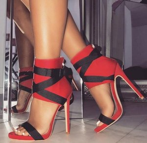 Wholesale Red Black Ankle Straps High Heel Sandals For Women Peep Toe Cut out Dress Shoes Mixed Colors Patchwork Banquet Thin Heel Shoes