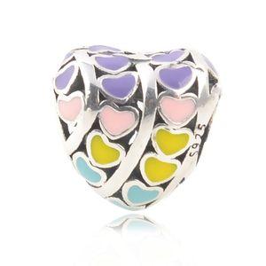 New Authentic S925 Sterling Silver Bead Purple Pink Green Enamel Love Hearts Charm Fit Original Brand Charm Bracelets DIY Jewelry