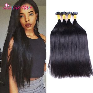 Natural Black Remy Virgin silk straight Human Hair Keratin Pre-bonded Nail flat Tip Extension Virgin Remy Human Hair Extension on Sale