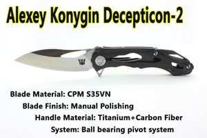 Improved Version Custom Clone Alexey Konygin CKF Decepticon2 Folding Camping Knife S35VN Blade Carbon Fibre Handle Tactical Tools EDC