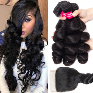 Wholesale 12 malaysian straight hair resale online - 8A Mink Brazilian Body Wave Straight Loose Wave Kinky Curly Deep Wave Hair With Lace Closure Malaysian Peruvian Brazilian Hair Weave Bundles