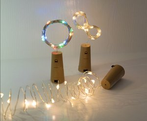 Wholesale Free DHL Fashion Red Wine Bottle Stopper LED Copper Filament Lamp String with Button Battery AG13 m Lights