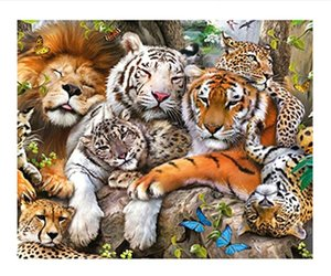 Wholesale Full Drill d Diamond Painting Tiger and Lion Family Arts Craft for Home Wall Decor Festival Gift DIY Diamond Painting Kits