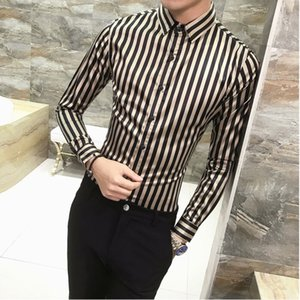 Wholesale New arrival Men's Clothing Male handsome personality striped Long sleeved Shirts Man air stylist Nightclub Dress shirts 2 Colors