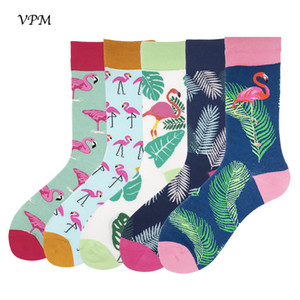 Wholesale VPM Colorful Combed Cotton Mens Socks Funny Happy Flamingo Leaf Feather Dress Harajuku Sock Best Wedding Gift Box pairs