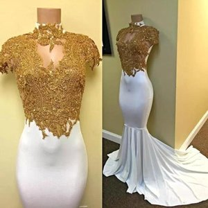 Wholesale 2018 Simple Yellow White Mermaid Prom Dresses High Neckline Golden Appliqued Short Sleeve Sweep Train Satin Evening Party Gowns Custom Made