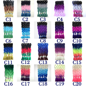 Free Shipping Wholesale Ombre Synthetic Kanekalon Three Tone Braiding Hair Extensions Xpression Jumbo Box Braids Hair 24 inch 100g Piece